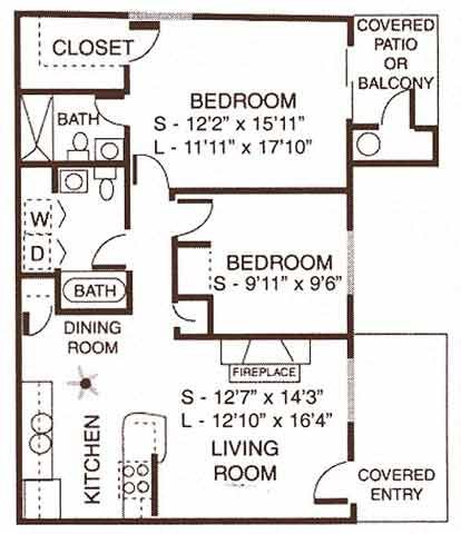 2 Bedroom / 2 Bathroom (Large) Floor Plan 4