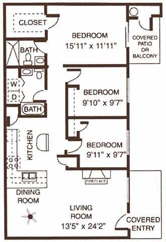 3 Bedroom / 2 Bathroom Floor Plan 5