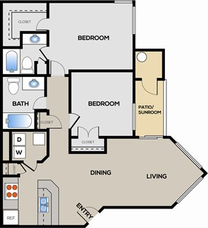 2 Bedroom 2 Bathroom A