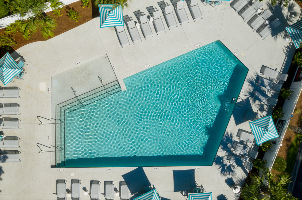 Ariel view of pool