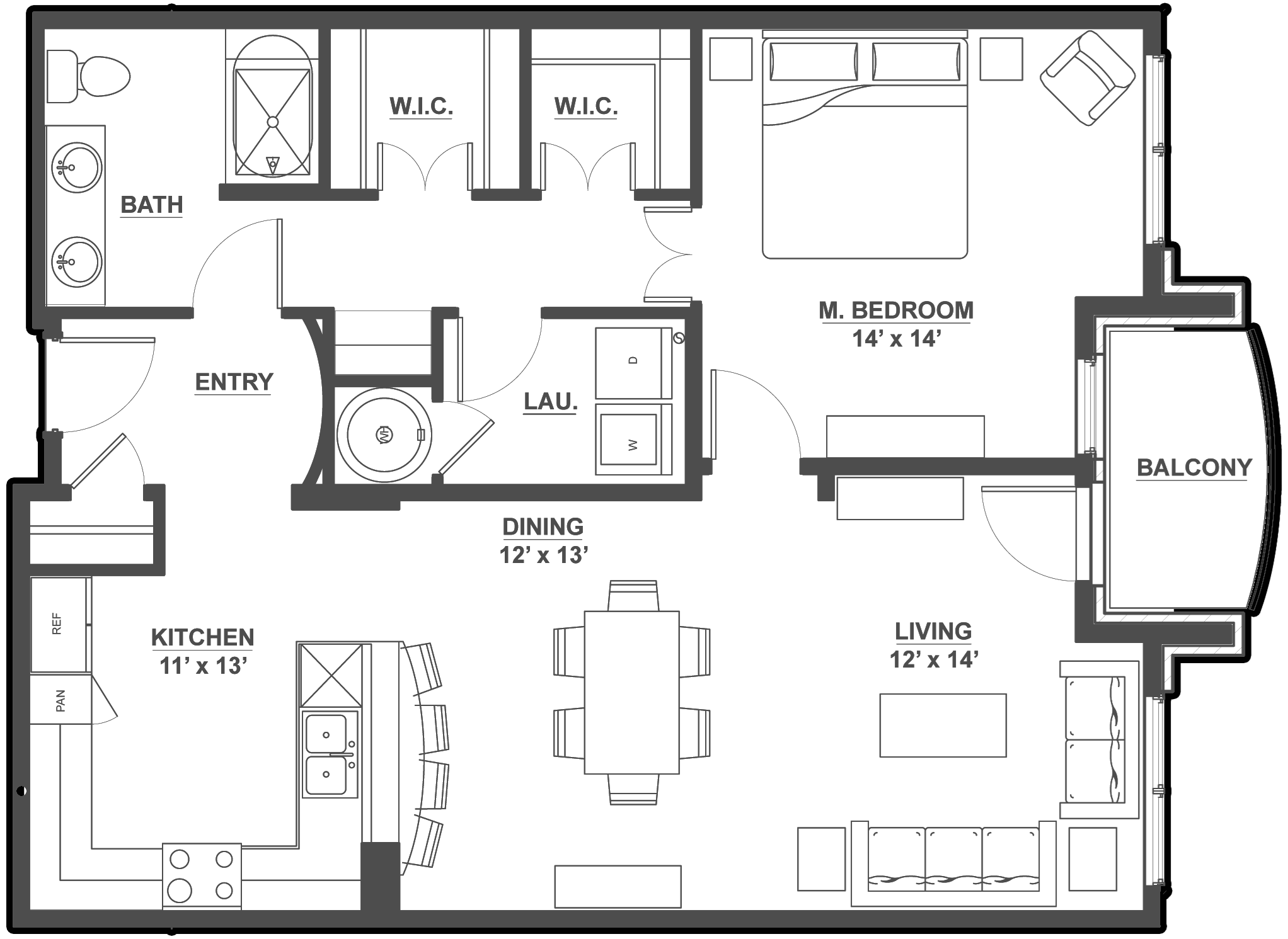 Kent Place Residence_Englewood CO_Floor Plan_Cambridge_One Bedroom and One Bathroom