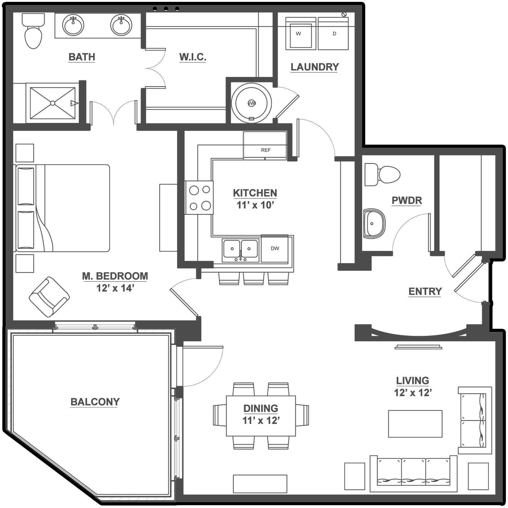 Kent Place Residence_Englewood CO_Floor Plan_Chesire_One Bedroom One and a Half Bathroom