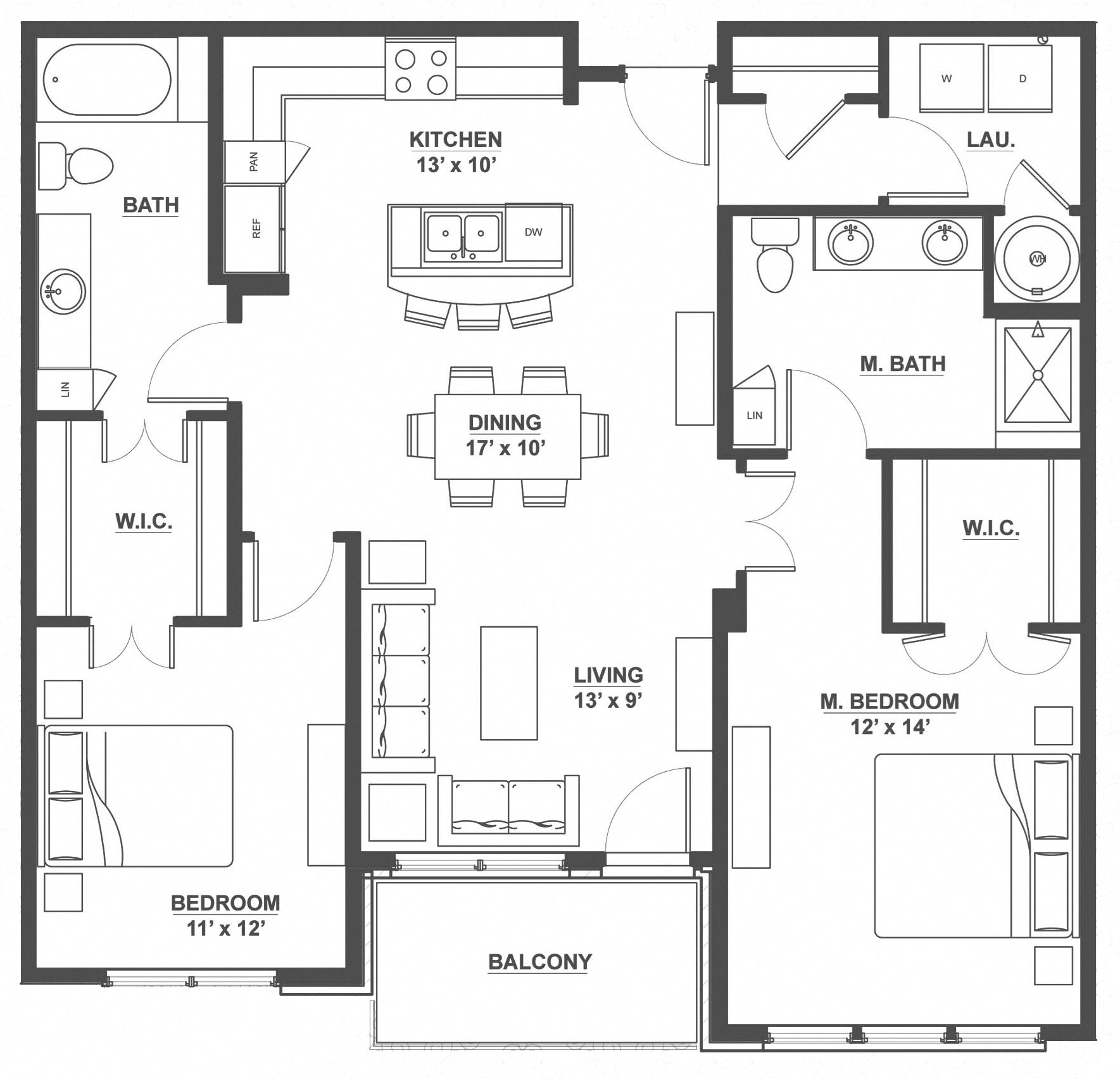 Kent Place Residence_Englewood CO_Floor Plan_Dorset_Two Bedroom Two Bathroom