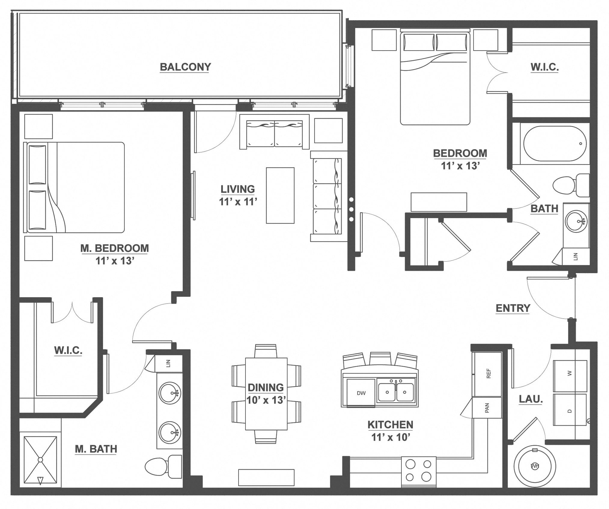 Kent Place Residence_Englewood CO_Floor Plan_Durham_Two Bedroom Two Bathroom