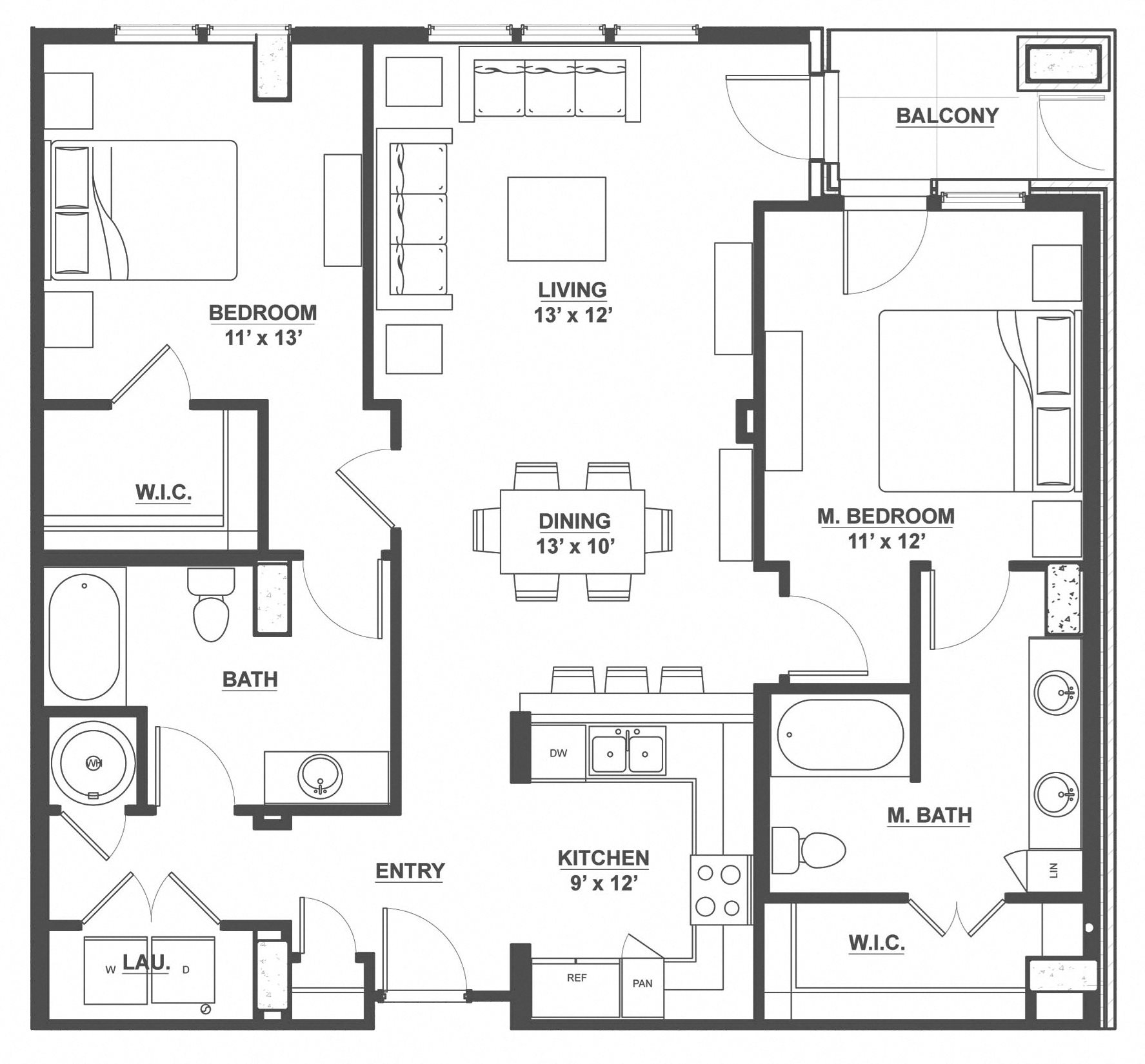 Kent Place Residence_Englewood CO_Floor Plan_Hampshire_Two Bedroom Two Bathroom
