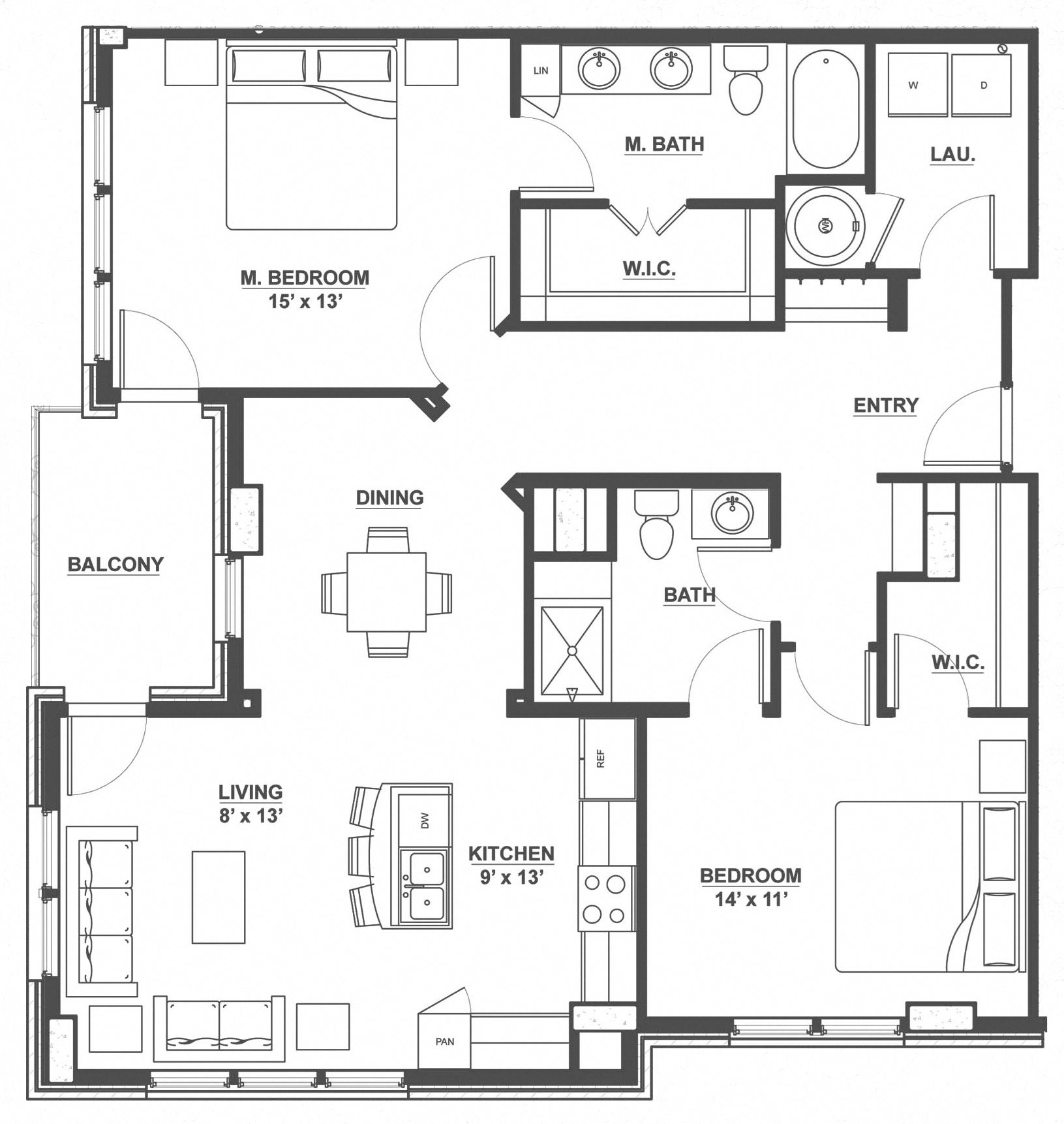 Kent Place Residence_Englewood CO_Floor Plan_Lincoln_Two Bedroom Two Bathroom