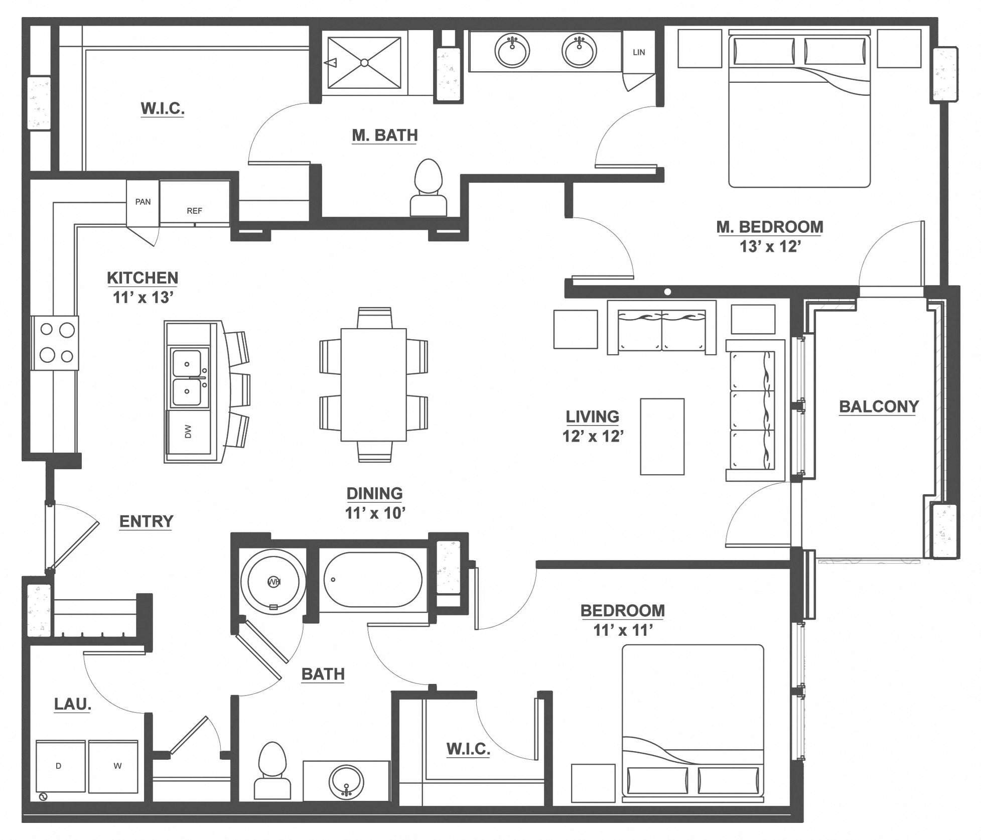 Kent Place Residence_Englewood CO_Floor Plan_Manchester_Two Bedroom Two Bathroom