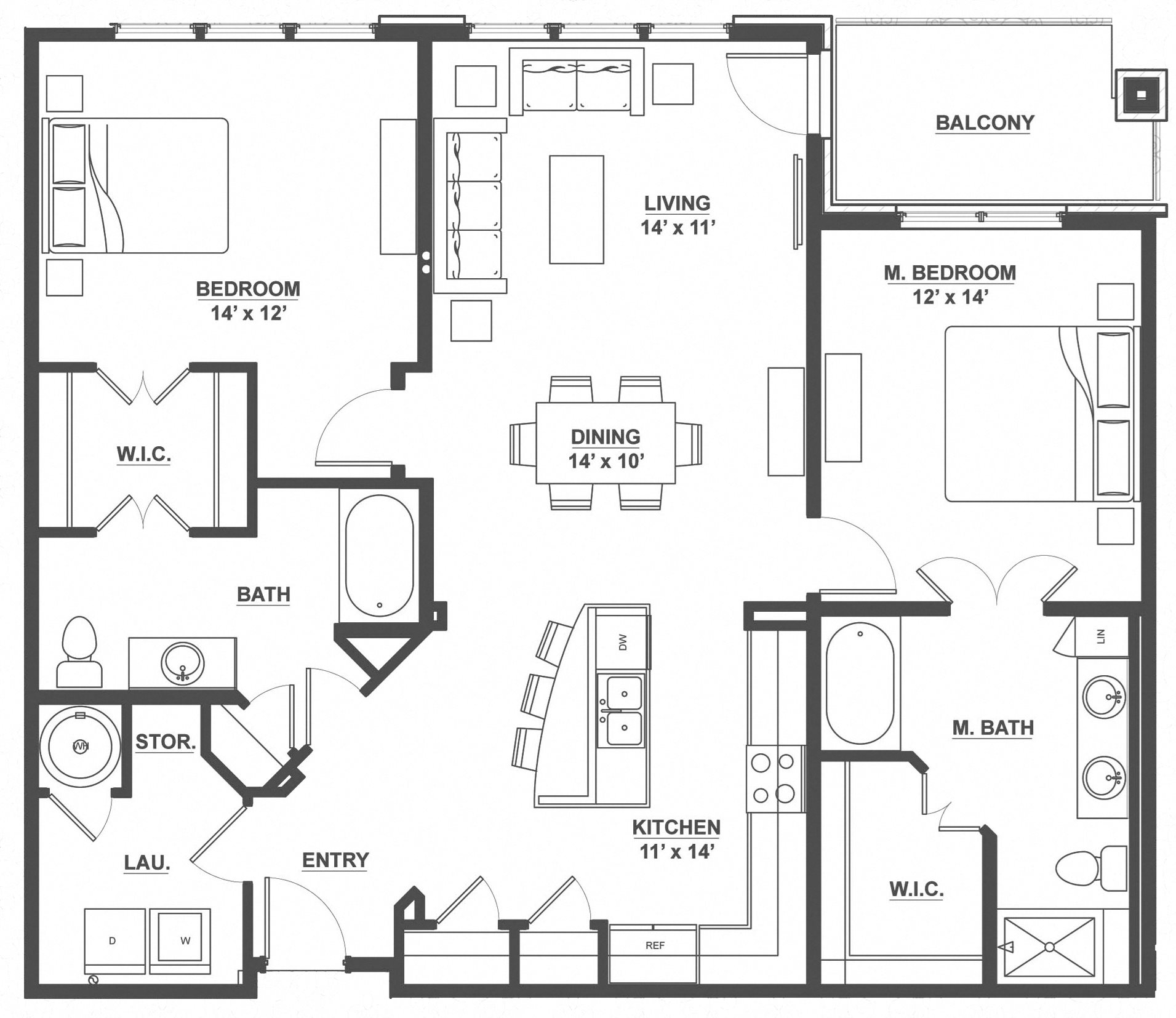 Kent Place Residence_Englewood CO_Floor Plan_Nottingham_Two Bedroom Two Bathroom