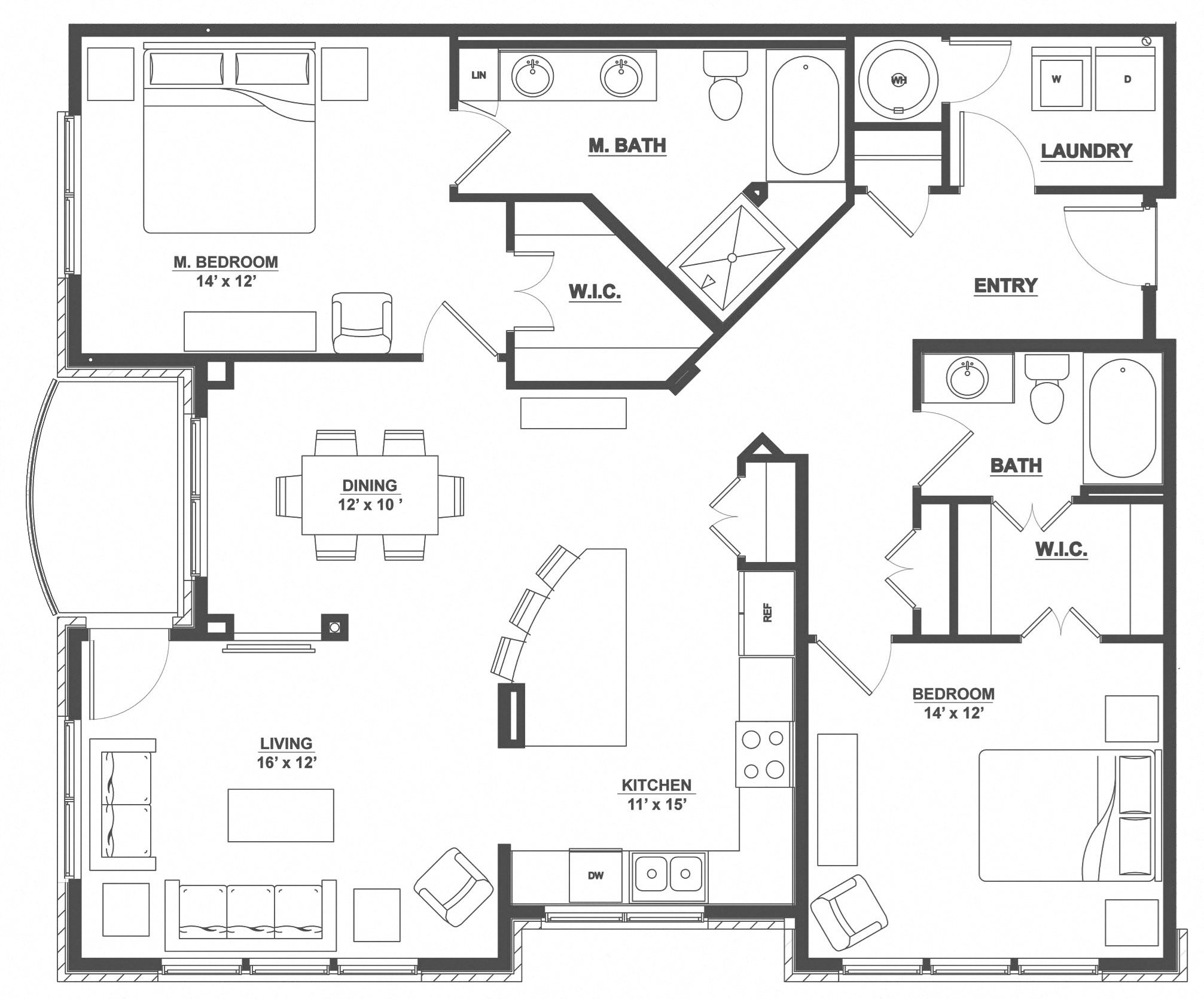 Kent Place Residence_Englewood CO_Floor Plan_Oxford_Two Bedroom Two Bathroom