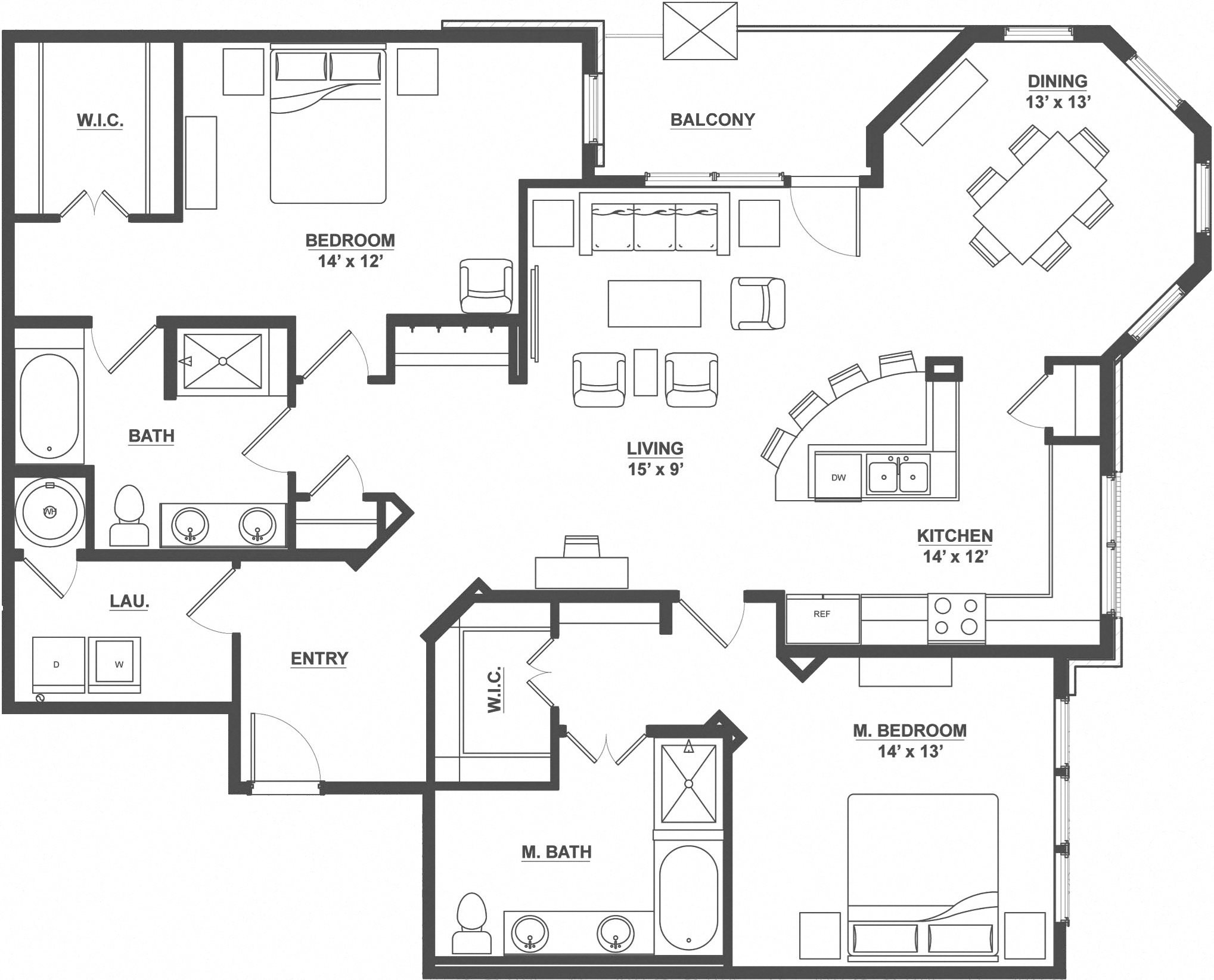 Kent Place Residence_Englewood CO_Floor Plan_Somerset_Two Bedroom Two Bathroom