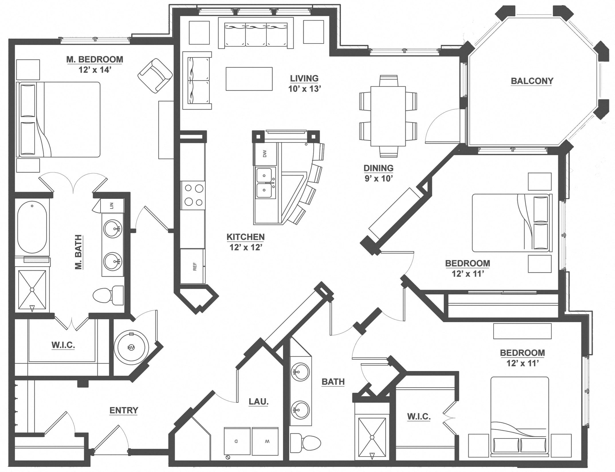 Kent Place Residence_Englewood CO_Floor Plan_Stafford_Three Bedroom Two Bathroom