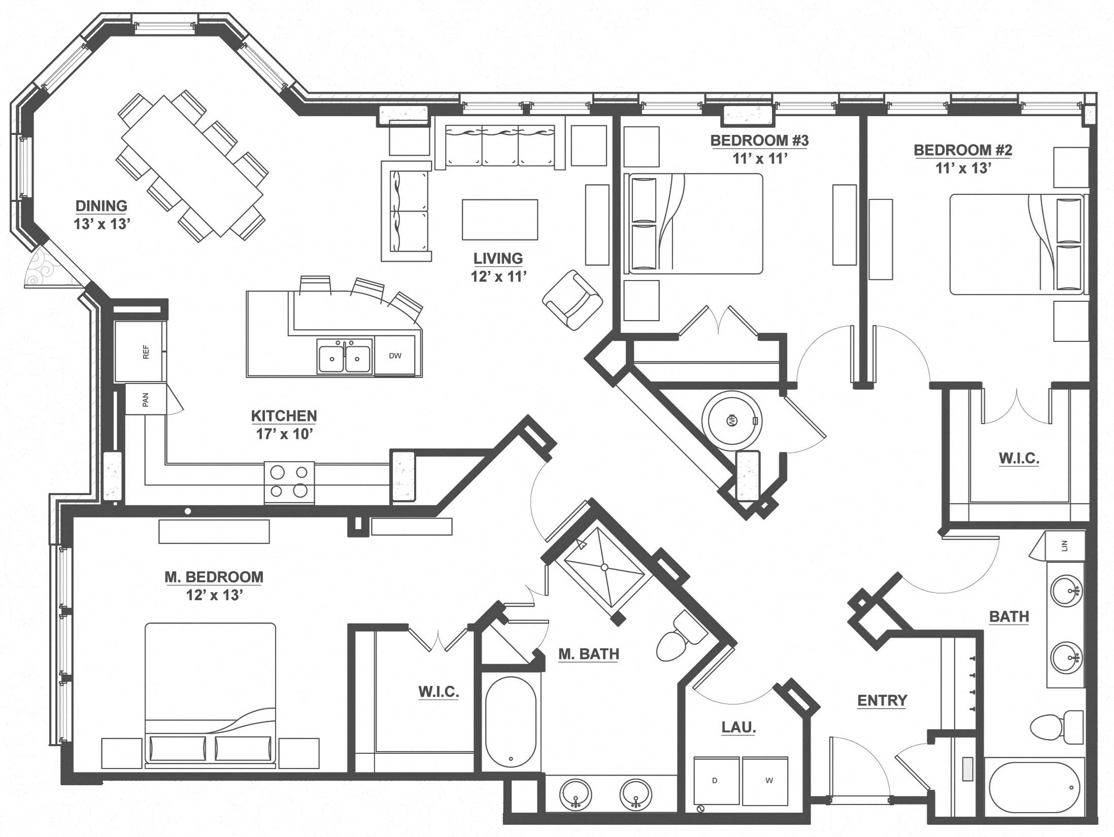 Kent Place Residence_Englewood CO_Floor Plan_Surrey_Three Bedroom Two Bathroom