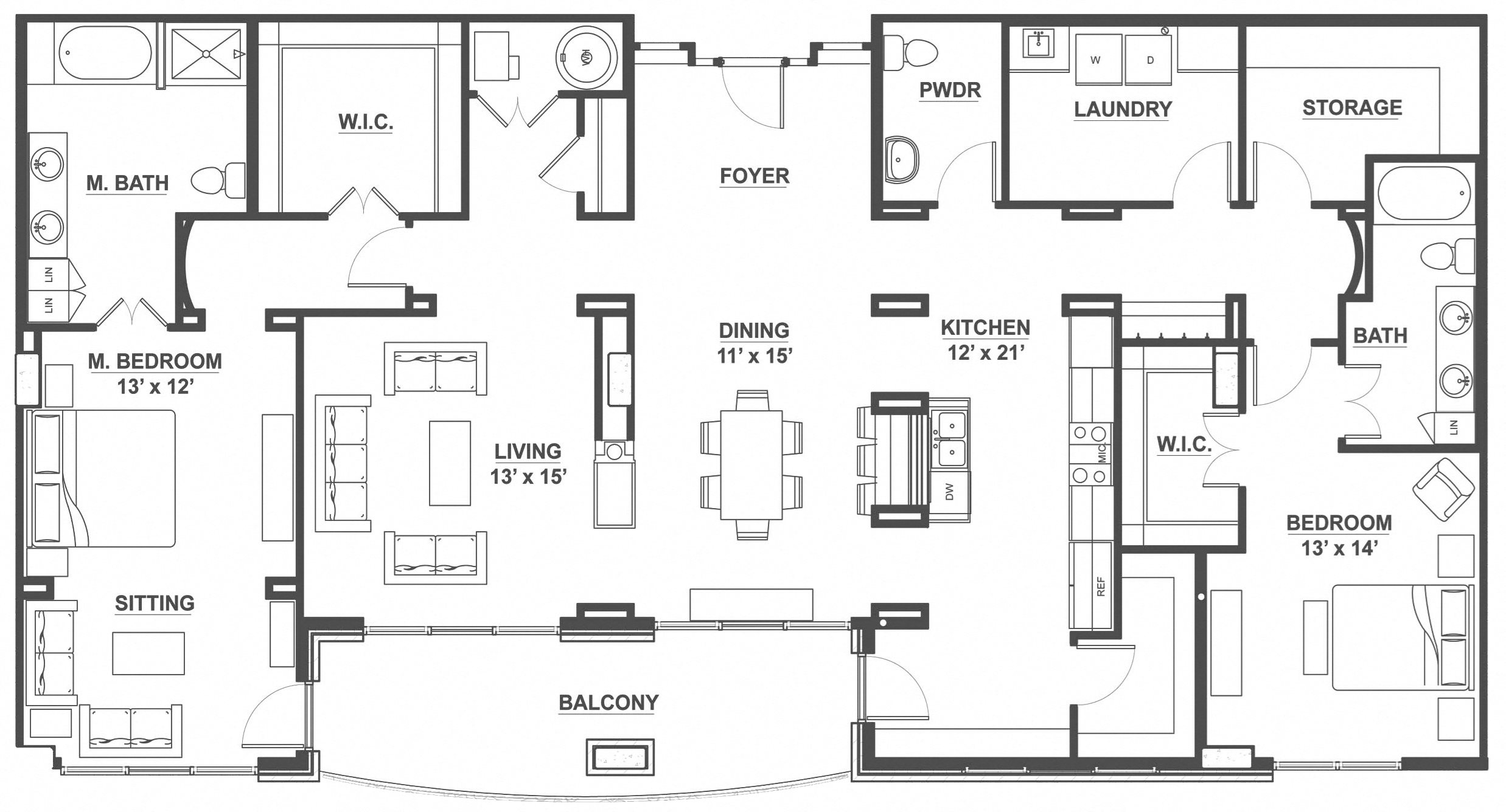 Kent Place Residence_Englewood CO_Floor Plan_Surrey_Two Bedroom Two and a Half Bathroom