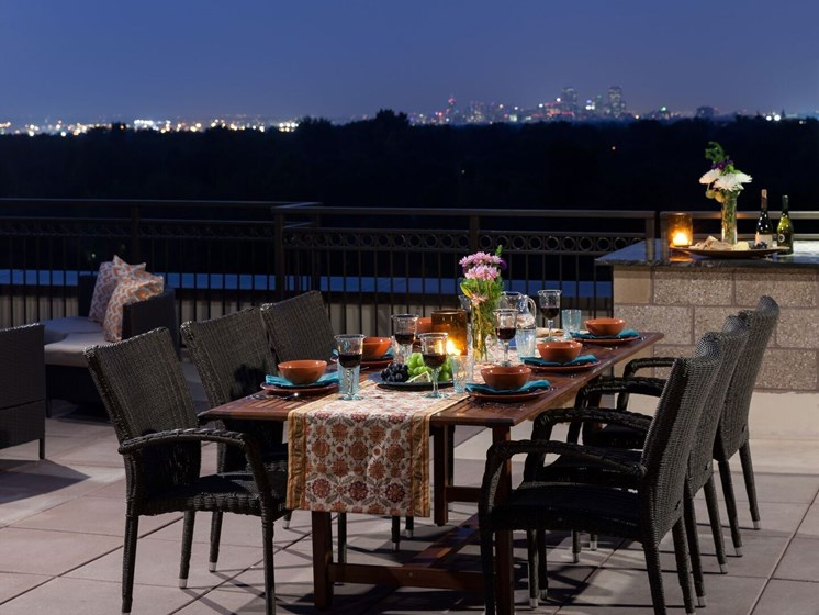Kent Place Residence_Englewood CO_Nighttime Rooftop Dining