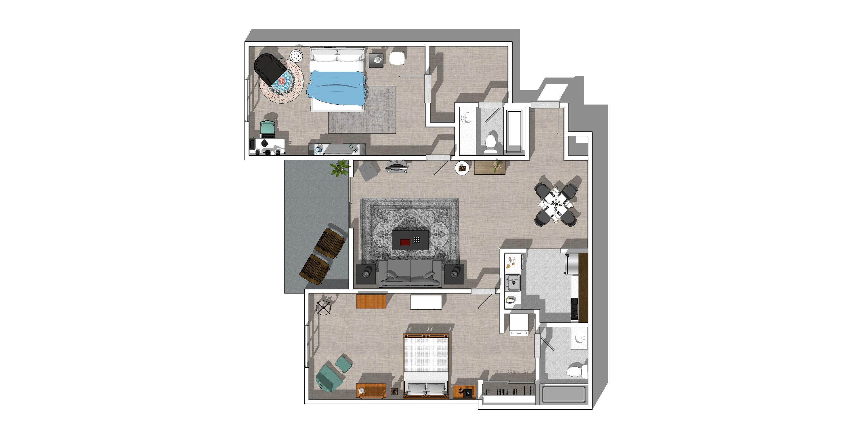 2A Two Bedroom Two Bath Floor Plan 3