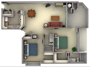 Floorplan at Larkspur Woods Apartment Homes, Sacramento, CA