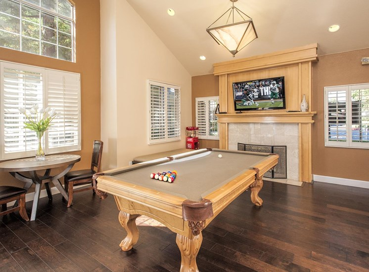 Game Room With Billiards Table at Larkspur Woods Apartment Homes, Sacramento, CA