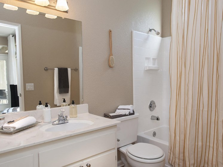 Custom Framed Bathroom Mirrors at Larkspur Woods Apartment Homes, CA, 95833