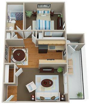 Floorplan at Indian Springs Apartments, Mesa, 85202