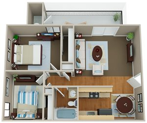 Floorplan at Indian Springs Apartments, Mesa, AZ