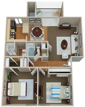 Floorplan at Indian Springs Apartments, AZ, 85202