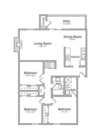 Floorplan at Indian Springs Apartments, Arizona, 85202