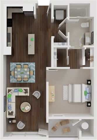 One bedroom floor plan l Aspire Apartments For Rent in Tracy CA