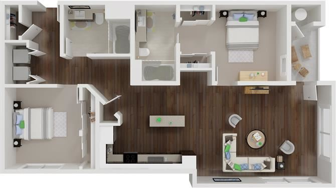Two bedroom floor plan  l Aspire Apartments For Rent in Tracy CA
