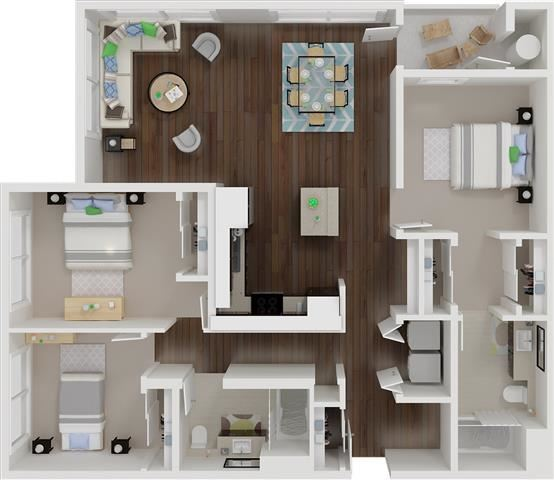 Three bedroom floor plan   l Aspire Apartments For Rent in Tracy CA