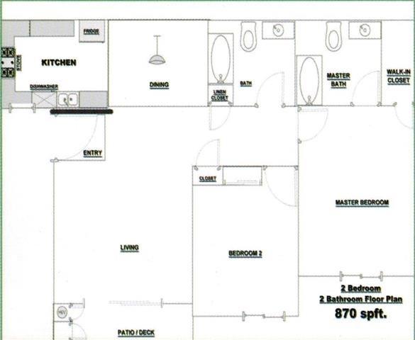 2 bedroom 2 Bath Floor Plan 1