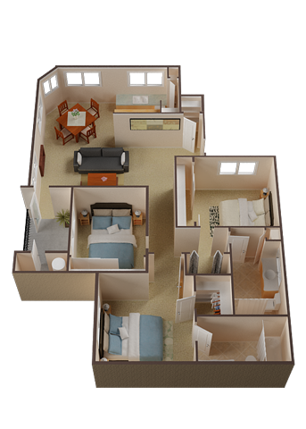 Three bedroom Apartments For Rent in Roseville l Pinnacle at Galleria