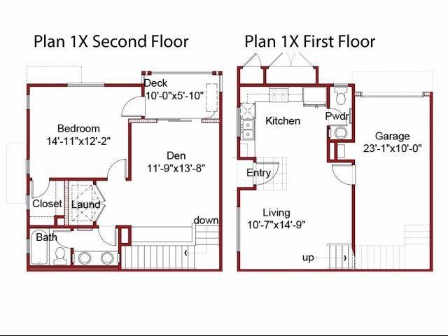 the 1BD, 1.5BTH X floor plan.