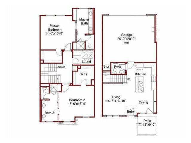 the 2BD, 2.5BTH floor plan.