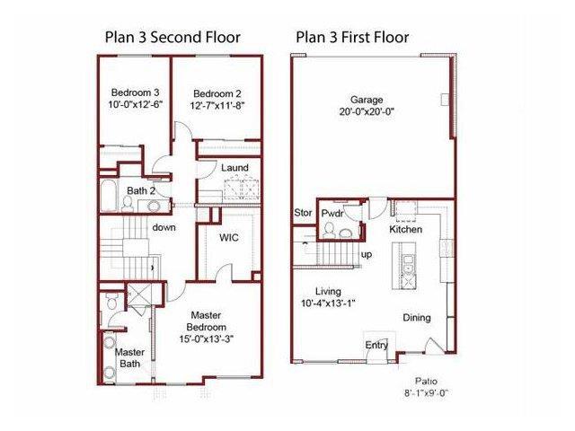the 3BD, 2.5BTH floor plan.