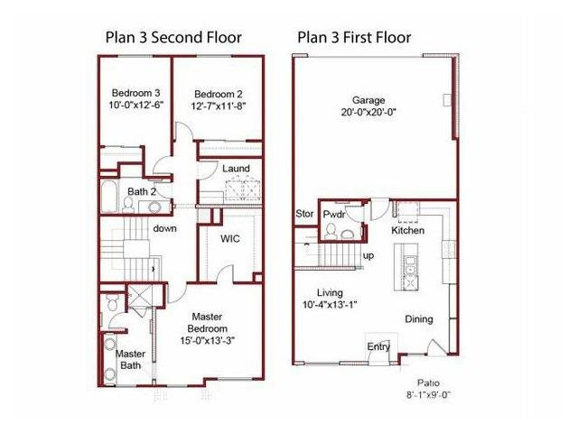 the 3BD, 2.5BTH A floor plan.