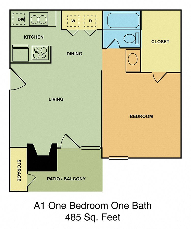 A1 One Bedroom One Bath Floor Plan 1