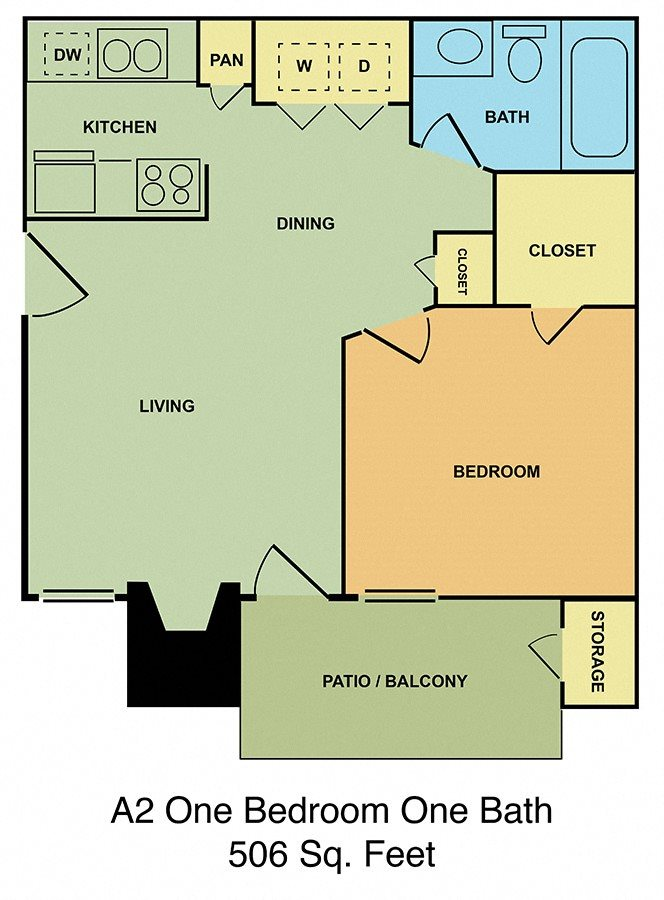 A2 One Bedroom, One Bath Floor Plan 2