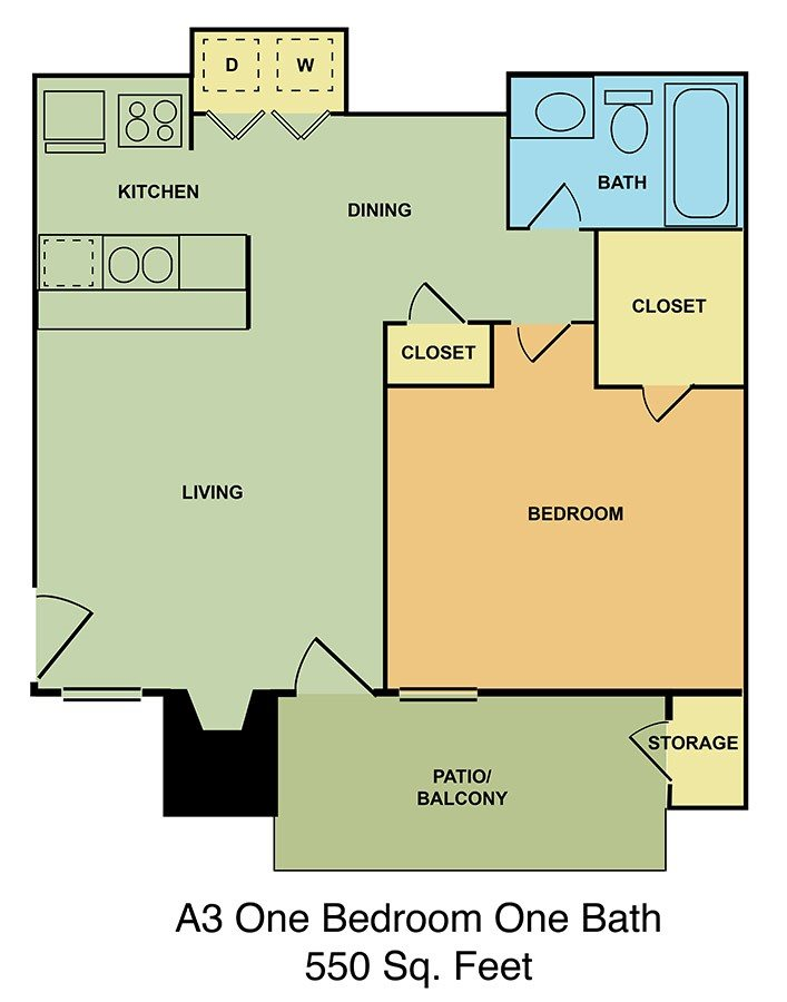 A3 One Bedroom One Bath Floor Plan 3
