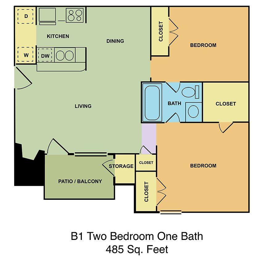 B1 Two Bedroom, One Bath Floor Plan 4