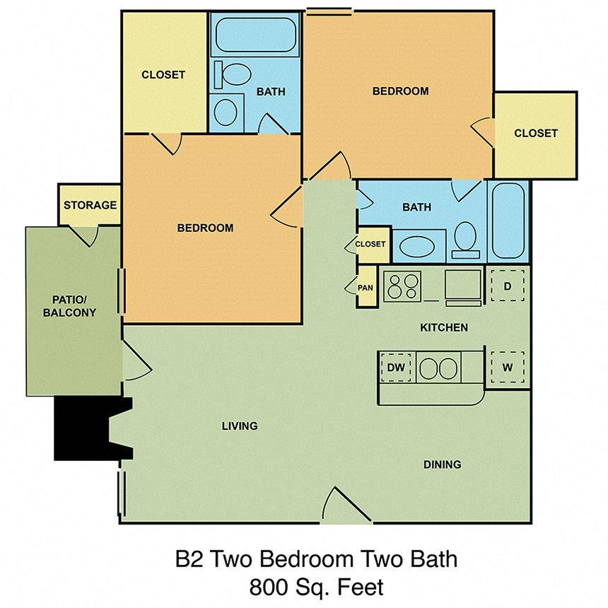 B2 Two Bedroom, Two Bath Floor Plan 5