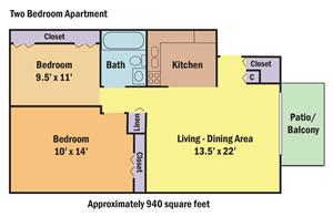 Chesterfield Village Apartments two bedroom, one bath floorplan