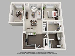 1 Bedroom, 1 Bathroom, Den