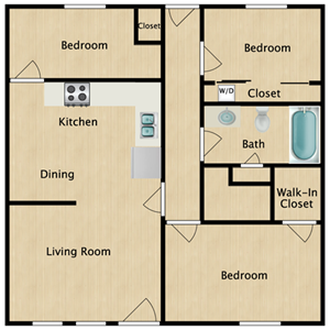 3 BED 1 BATH MIDDLE