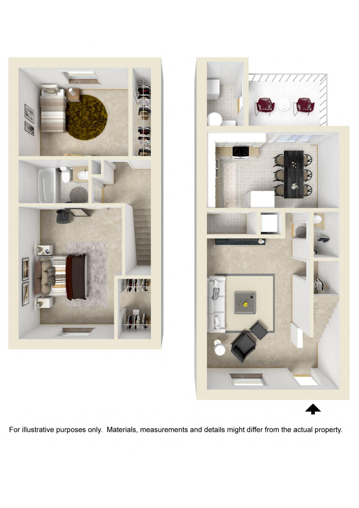 TWO BEDROOM TOWNHOME Floor Plan 4