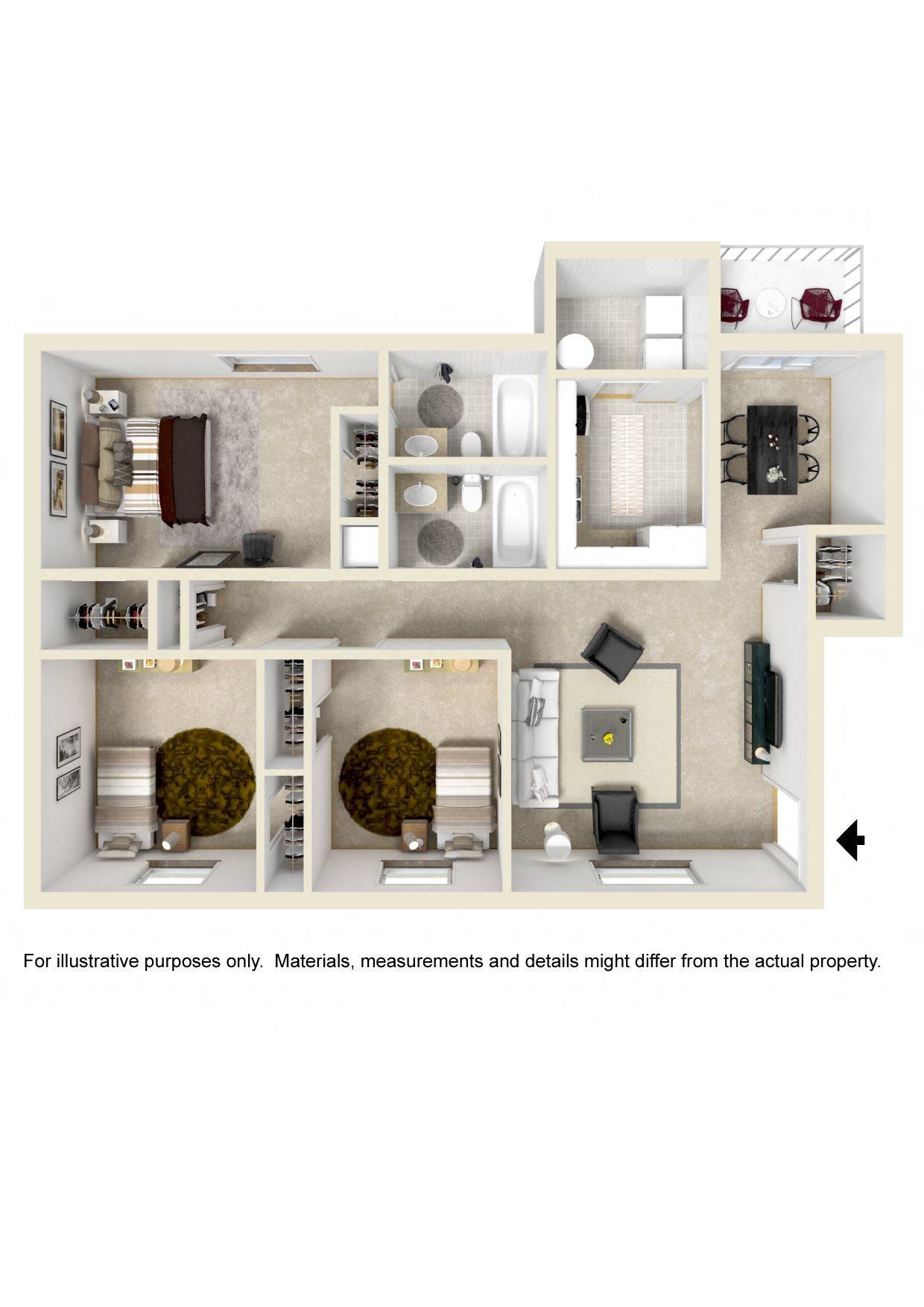 THREE BEDROOM GARDEN Floor Plan 5
