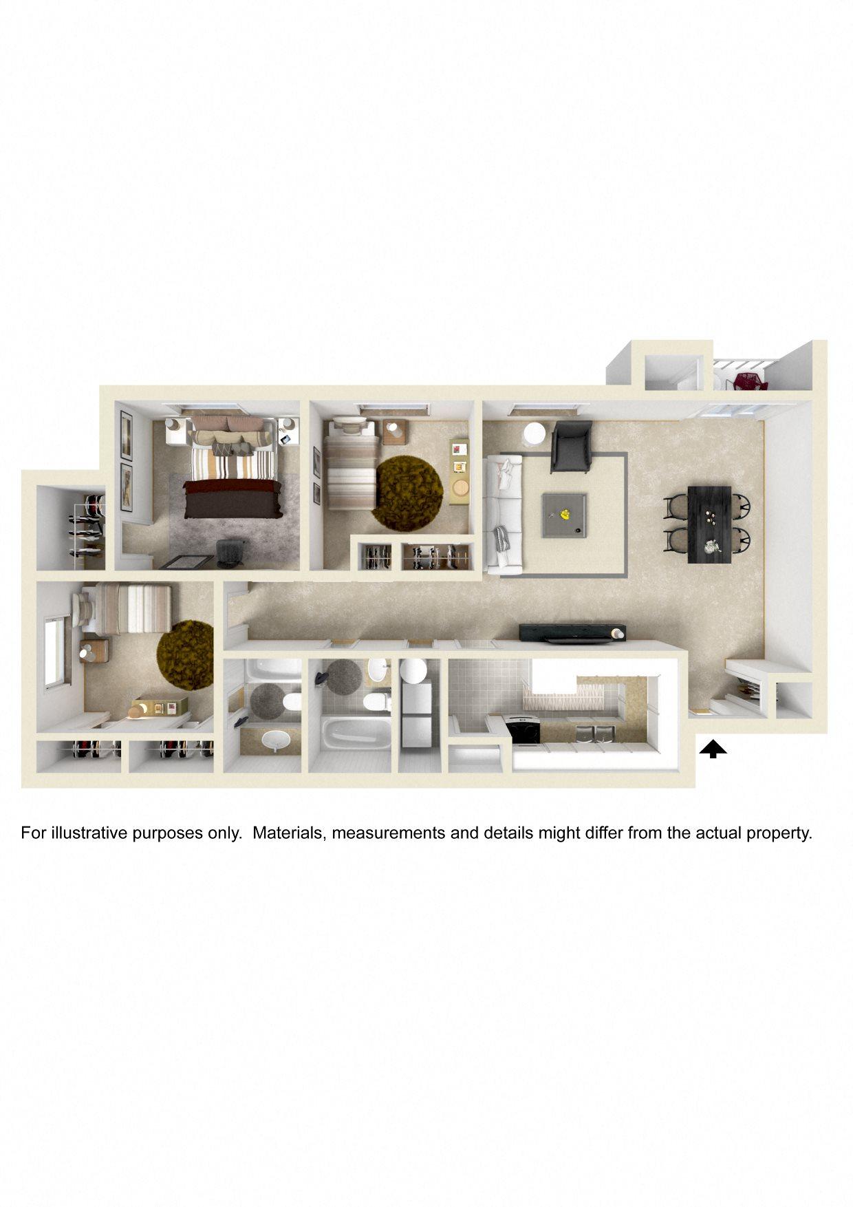 THREE BEDROOM GARDEN LARGE Floor Plan 6
