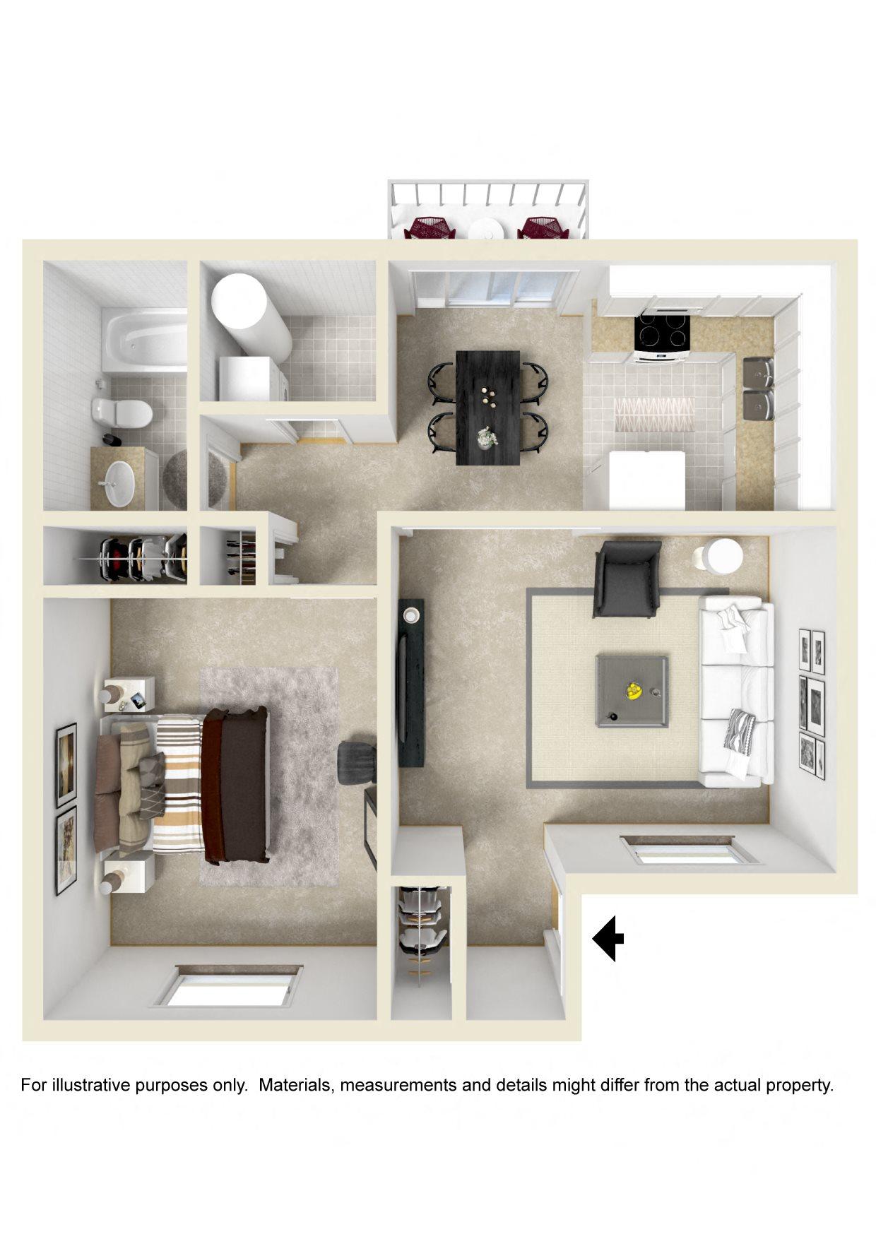ONE BEDROOM GARDEN Floor Plan 1