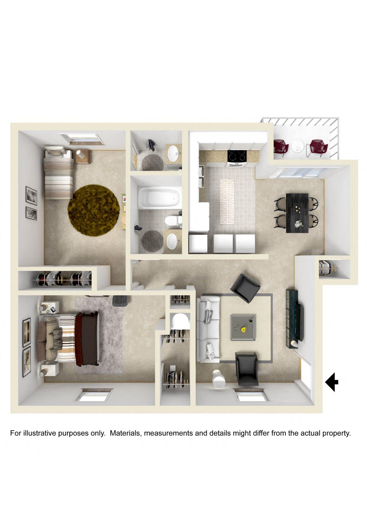 TWO BEDROOM GARDEN Floor Plan 2