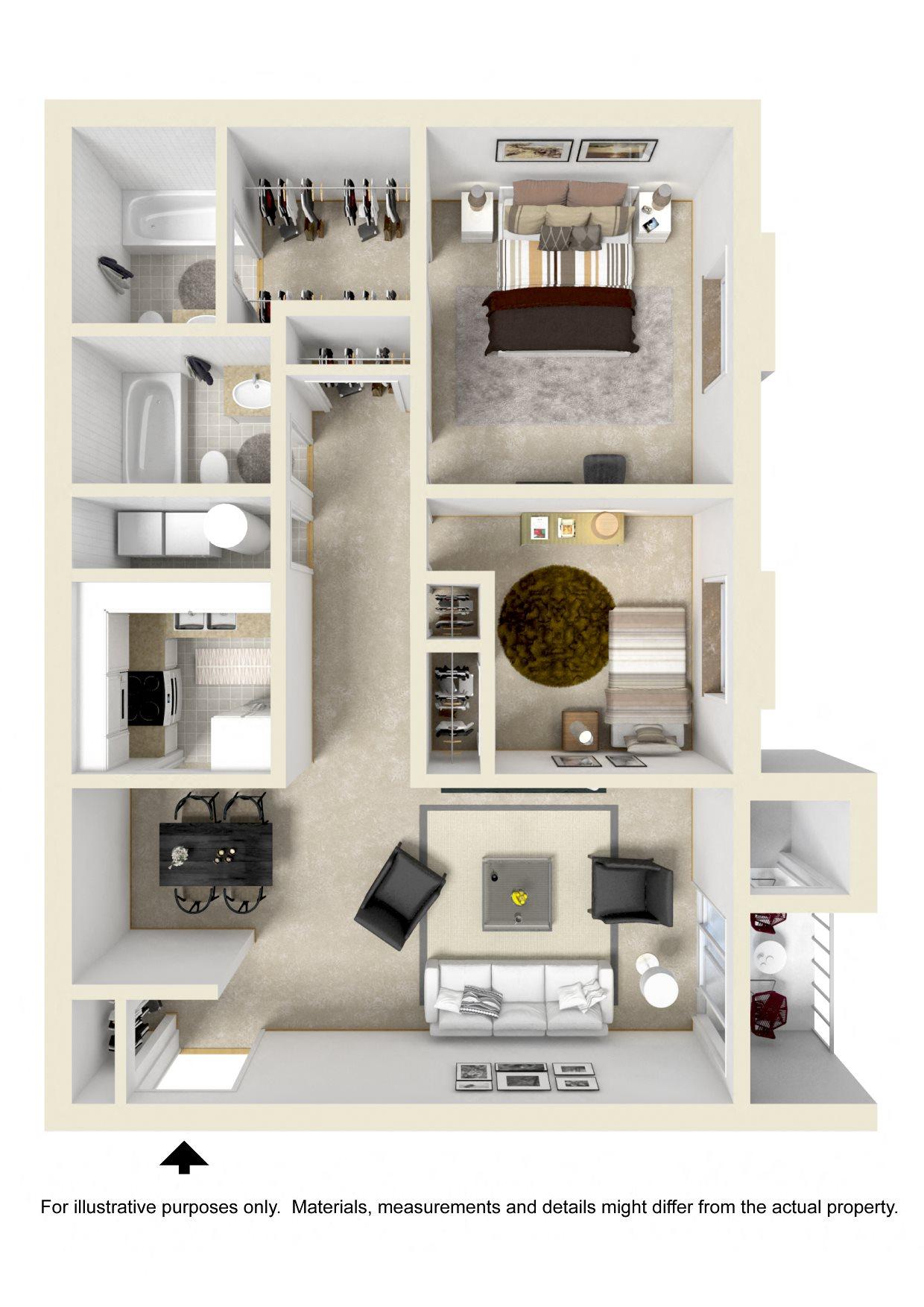 TWO BEDROOM GARDEN II Floor Plan 3