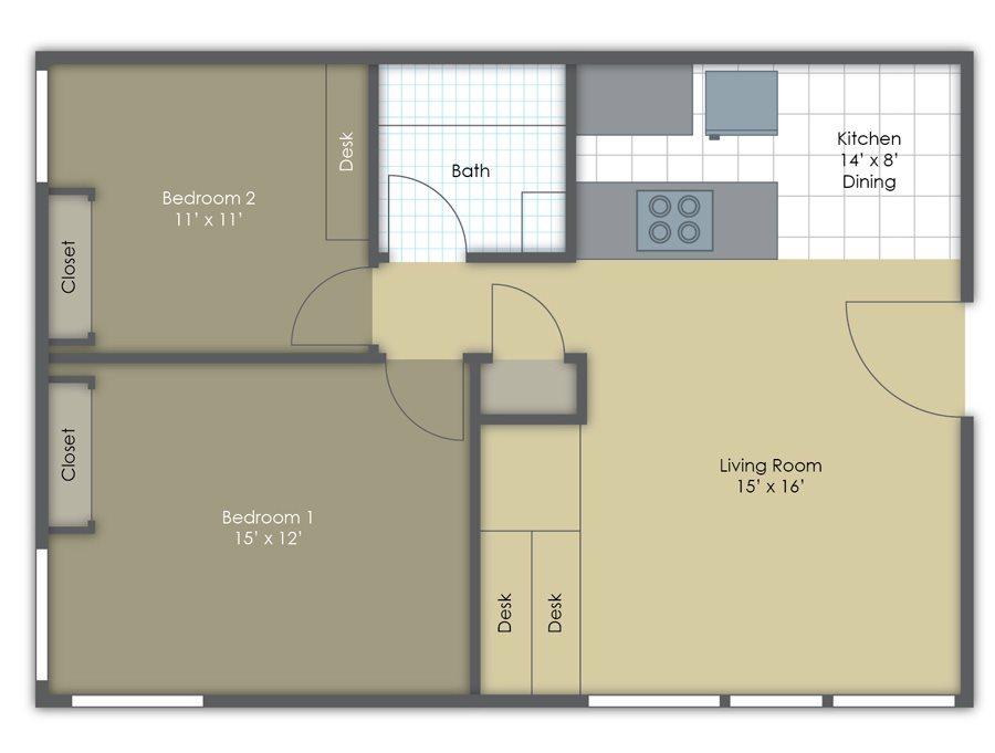 Two Bedroom One Bath Floor Plan 3